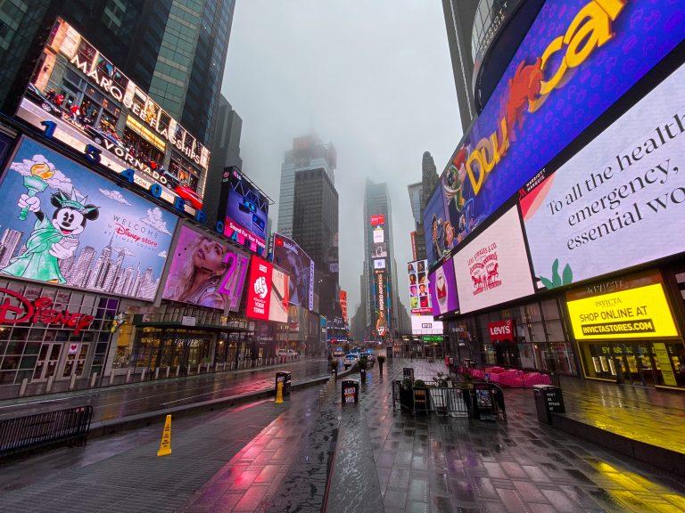Times Square durante el confinamiento de Nueva York